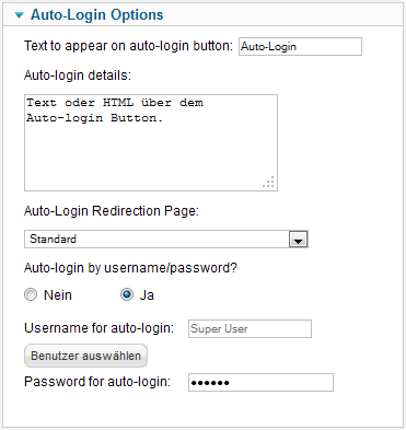 Access by ID - Auto-Login Options