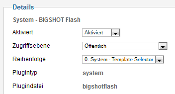Bigshot Flash - Parameterdetails