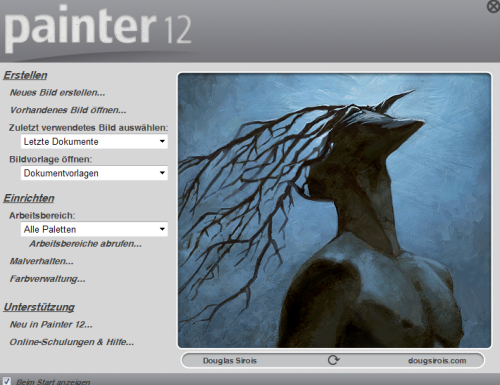Corel Painter 12.2 - Startfenster