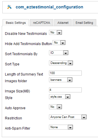 Testimonial - Basic Settings