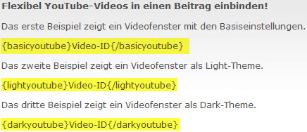 Flexi Youtube - Video einbinden