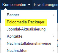 Packager im Joomla Menue