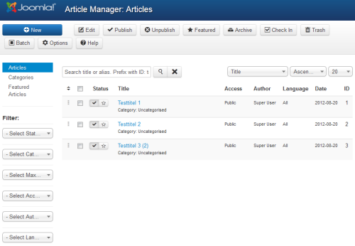 Joomla 3.0 Alpha 2 - Article Manager