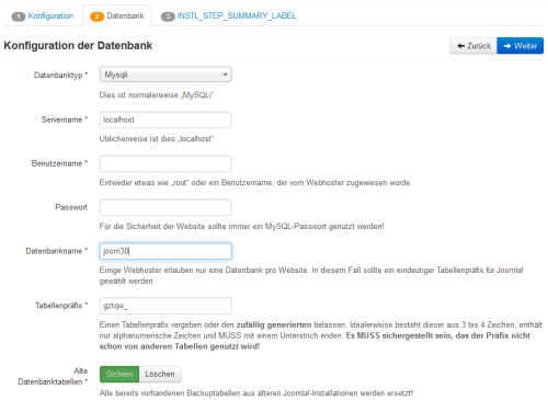 Joomla 3.0 Alpha 2 - Datenbank-Konfiguration