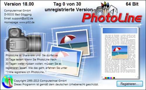 Photoline - Registrierungshinweis
