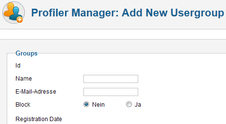 Profiler - Neue User Gruppe