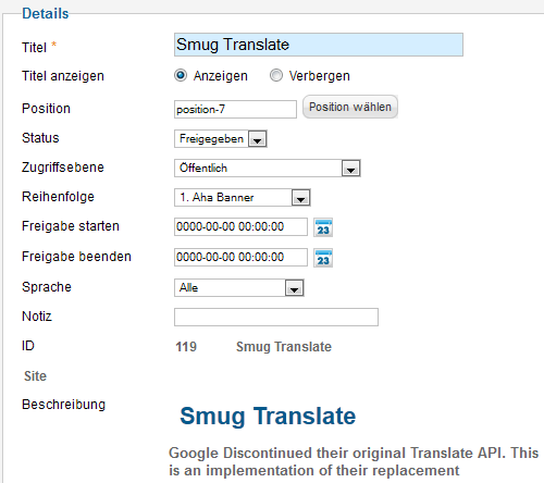 Smug Translate - Einstellungen