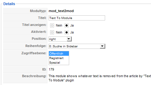 Text to Module - Modul Details