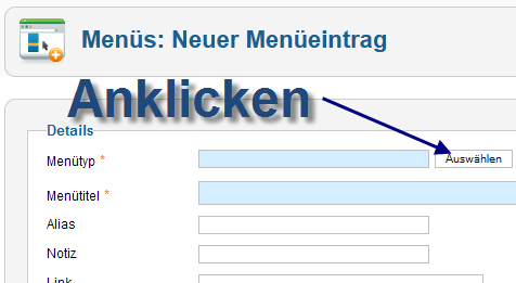 User Article - Neuer Menüeintrag