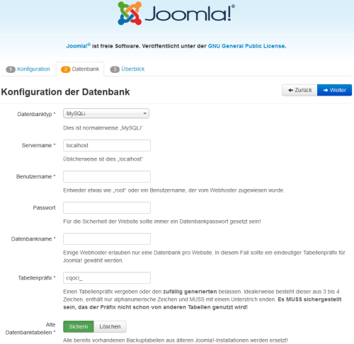 Joomla 3 - Datenbank Installation
