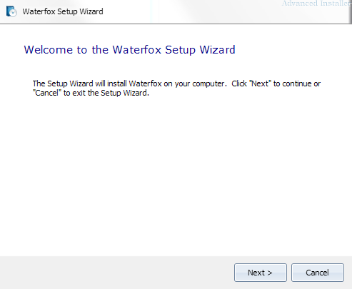 Waterfox - Setup Wizard