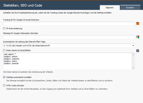 websitex5-statistiken-seo-code-fenster